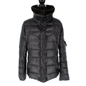 S 13/NYC Black Quilted Down Coat size XL Faux Fur